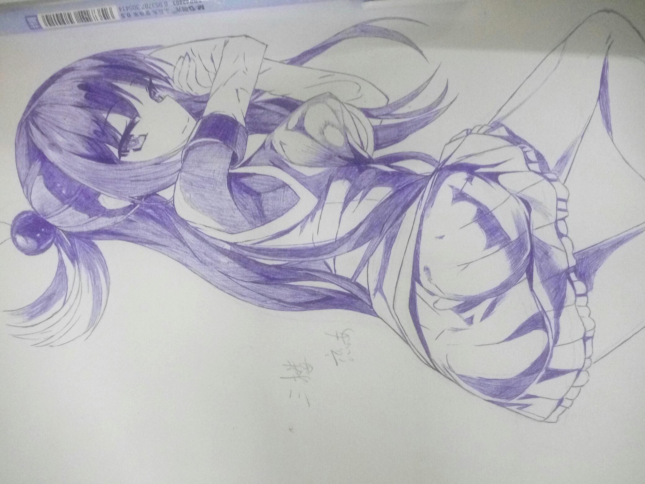 【手绘】圆珠笔画,没有崩坏的阿库娅,二次元像素图片
