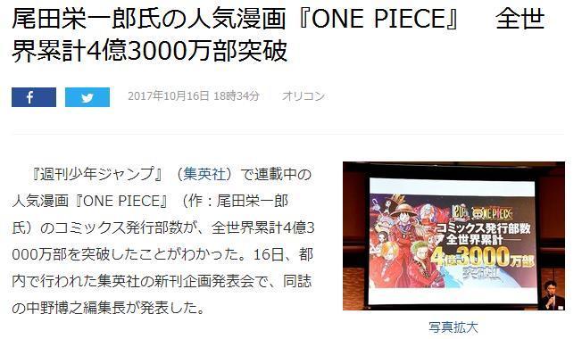 【资讯】《航海王》销量突破4亿3000万册