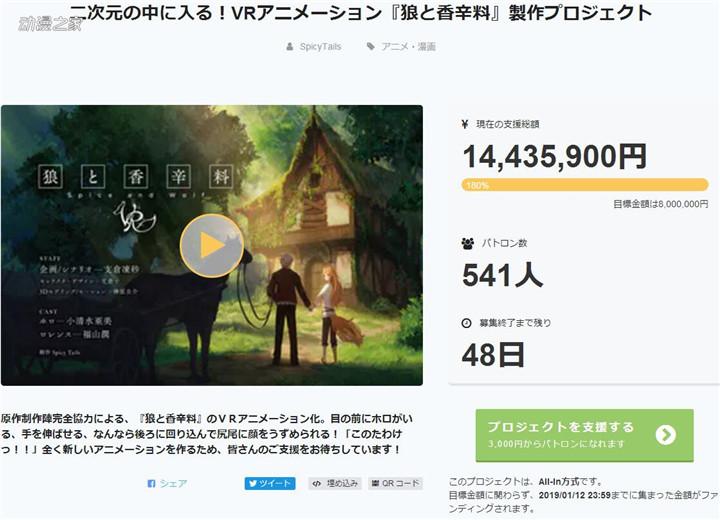 【动漫资讯】VR动画《狼与香辛料》众筹两小时达成目标!
